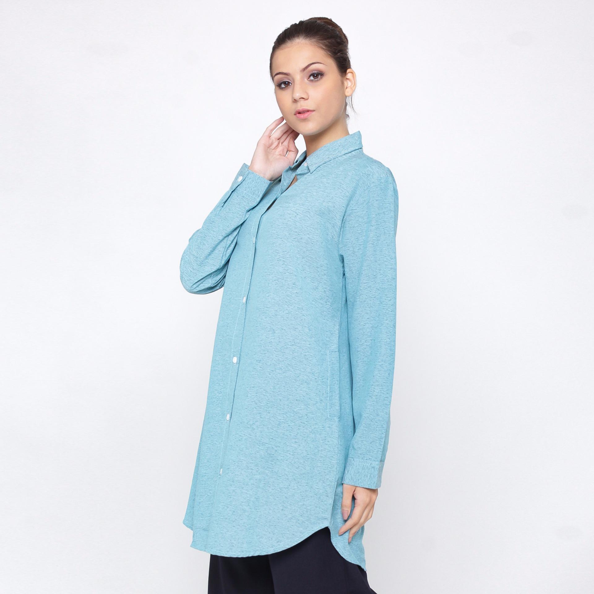 Jfashion New Wide Long Tunik Print Beludru 34 Sleeve Arimbi Biru Etchnic Fashion Elegan Shareen Wanita Tangan Panjang Arumi
