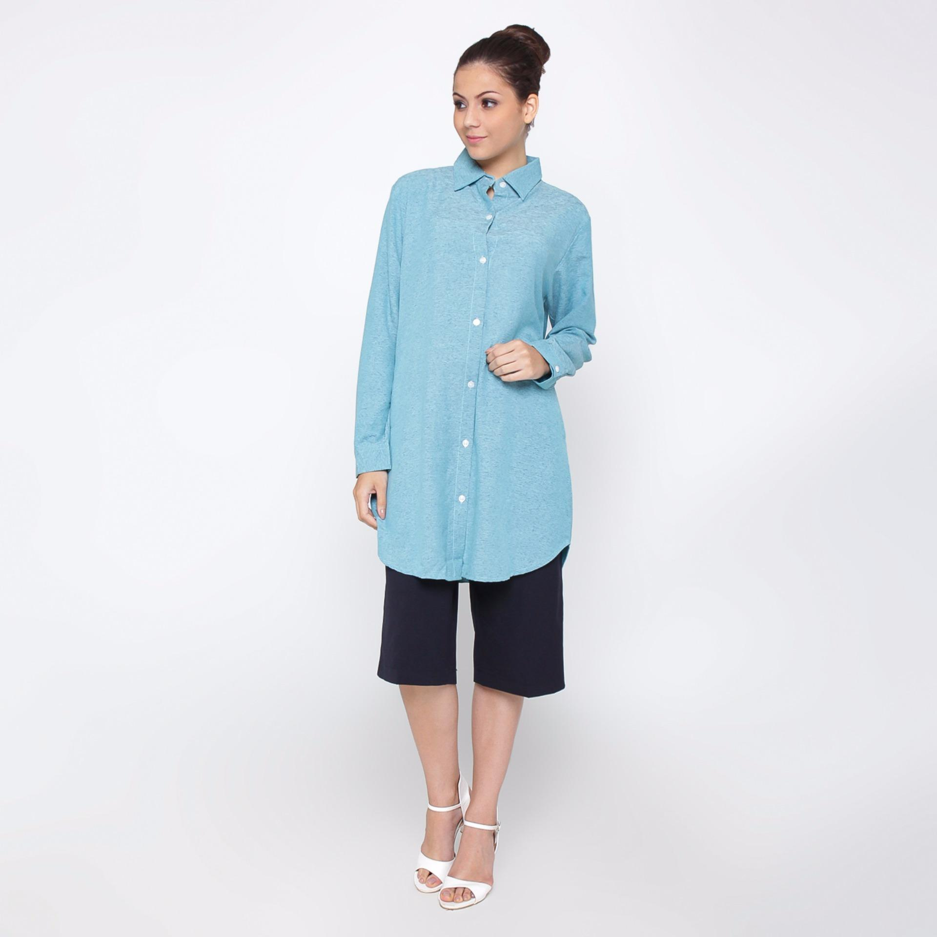 Jfashion Tunik wanita Tangan Panjang Long Sleeve - Arumi Biru .