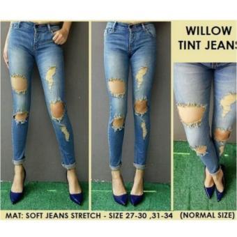 JHF jeans wanita ripped sobek tinta green
