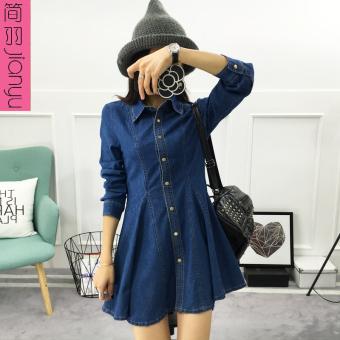 Pencarian Termurah Jianyu Korea Fashion Style perempuan tipis kata denim rok gaun denim (Denim biru