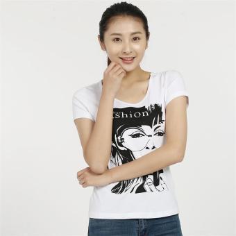 Beli Jianyue kapas perempuan lengan pendek leher bulat kebugaran kemeja t-shirt (Putih) Murah