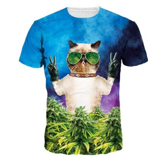 harga Jiayiqi Cool Wearing Sunglasses Cat Tops Forest Print T-shirts Lazada.co.id