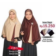 Jilbab 2 Warna Fashion Muslim Terbaru Wanita Kekinian Model Sekarang Model Jaman Now Jilbab Bolak Balik Instan 2 in 1 atau Inner Rajut | Hijab Instant Bergo Dua warna Khimar Syari Jumbo Jilbab Pengajian Pesta Multifungsi Pet Anti Tembem