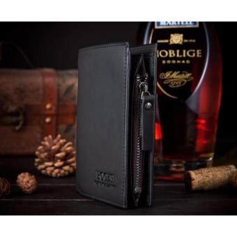 JK Dompet Pria Zipper Wallet - Premium PU Leather dengan Resleting - Black