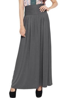 JO & NIC Pleated Flare Maxi Skirt - Rok Hijab - Fit up to Big Size - Grey