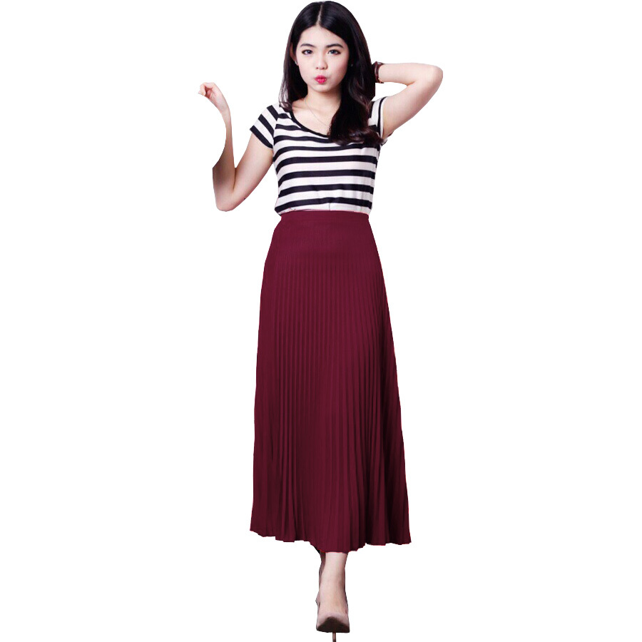JO & NIC Pleated Long Skirts - Rok Panjang Lipit Fit to XL .