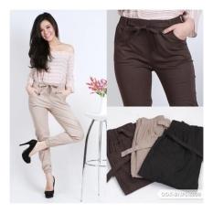 JOGGER PANTS COTTON STRETCH FOR LADIES (celana jogger katun wanita) - MOCCA