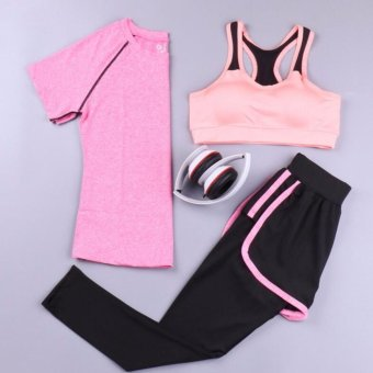 Harga Jogging T-shirt + Tighting Shorts + Sport Bra Women Three-PieceSuit Set Gym Yoga Suit Fitness Sports Running - intl