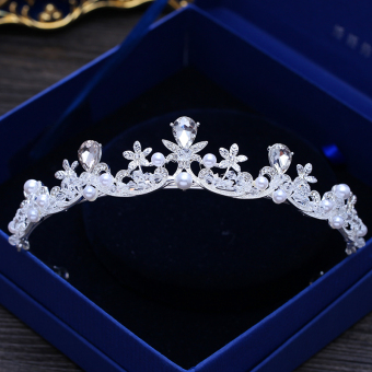 JOYME Model Korea Mempelai Wanita Mutiara Batu Kristal Air Crown Bando