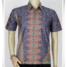 JUAL BAJU BATIK PRIA Baju Batik Kantor Batik Pekalongan Motif Khatulistiwa - Abu abu