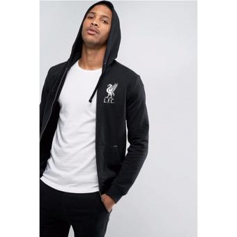 Just Cloth Jaket Zipper Hoodie The Reds Liverpool Black White -Hitam