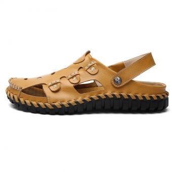 KAILIJIE Fashion Pria Sandal Sepatu Kulit (Kuning) - 3 .