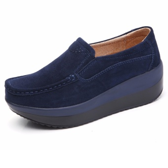KAILIJIE Wanita Fashion Sepatu Loafers Kasual Platform Shoes (Biru)-Intl 477f8bfff2