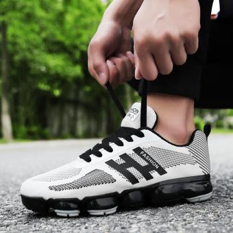 Kain kasual jala pria sepatu jala sepatu sepatu lari (Putih)