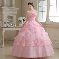 Kain Organza Bunga Tiga Dimensi Potong Gaun Pengantin Gaun Baru Gaun Pengantin (Merah Muda Warna