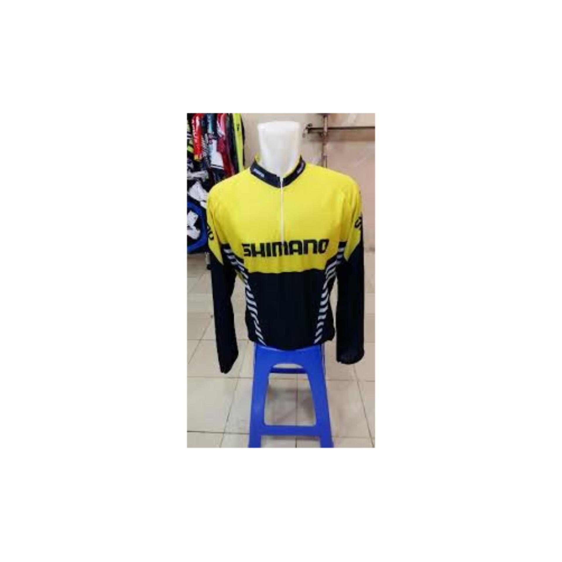 Kaos Baju JERSEY Sepeda Shimano Hitam Kuning Tangan Panjang 2017