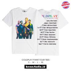 Kaos Band COLDPLAY World Tour Distro Tees T shirt paint white HeroeSupply Lazada .