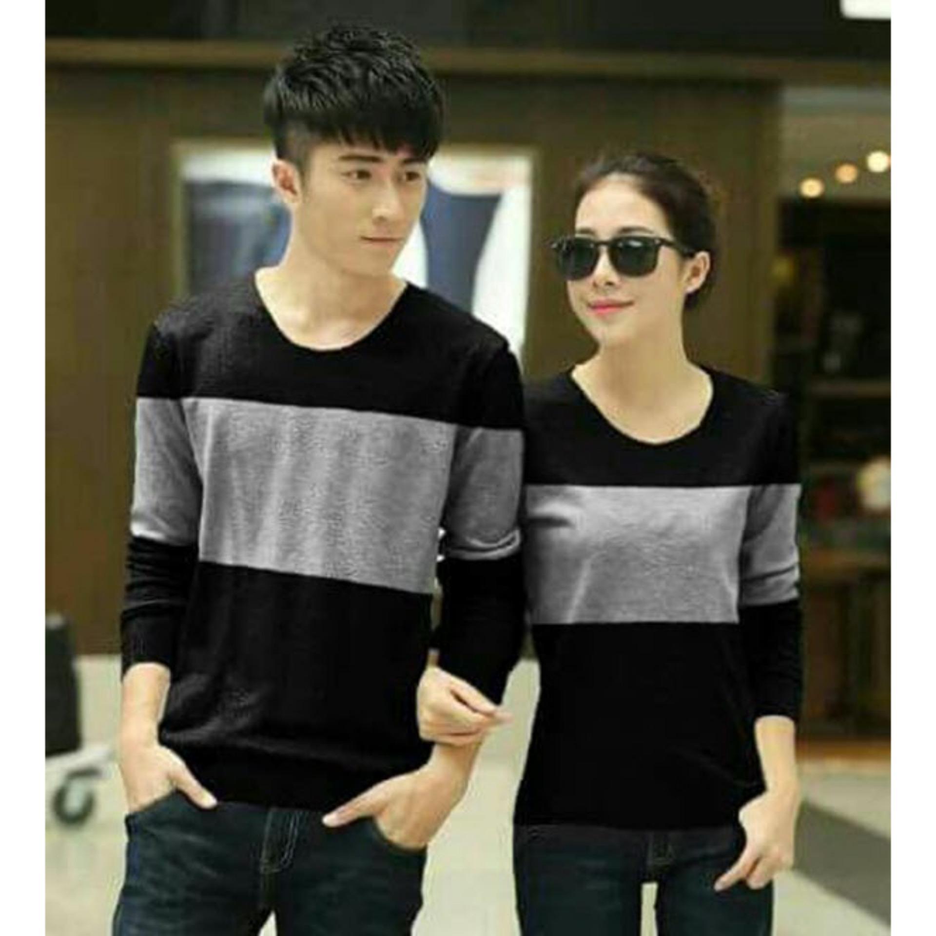 Kaos Couple Pria Wanita lengan Panjang / Kaos Polos / T Shirt Wanita Spandek / Bagus