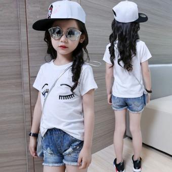 harga Kaos Oblong Anak Perempuan Lengan Pendek Warna Putih Katun Tulen Trendi Versi Korea (Mata) Lazada.co.id
