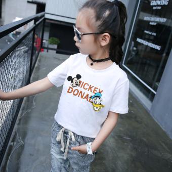 harga Kaos Oblong Anak Perempuan Lengan Pendek Warna Putih Katun Tulen Trendi Versi Korea (Putih) Lazada.co.id