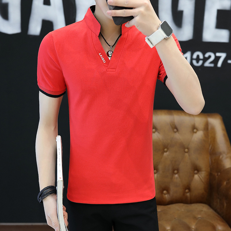 Kaos Oblong Pria Katun Murni Lengan Setengah Kerah Berdiri Membentuk Tubuh Santai (Merah)
