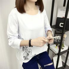Kaos Wanita Lengan Panjang Warna Putih Motif Cetak Model Longgar Gaya Korea (Putih)