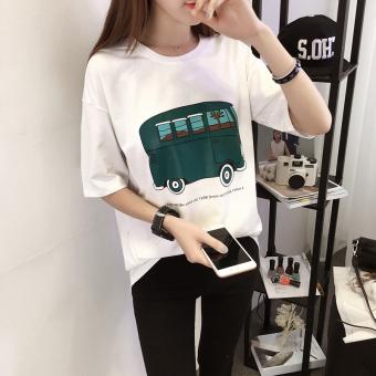Kaos Wanita Lengan Pendek Motif Kartun Model Longgar Gaya Korea (662 (putih ))