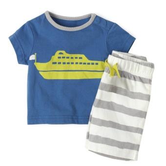Kapas Baobao celana pendek anak laki-laki t-shirt (Biru)