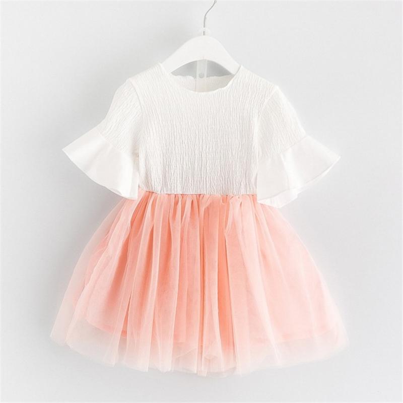 Kapas baru Gadis anak-anak gaun putri lengan pendek gaun (Putih) (Putih