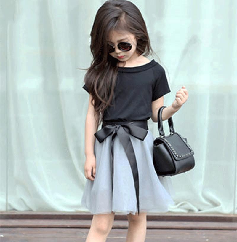 Kapas baru lengan pendek kasa rok gaun musim panas (Hitam t-shirt + kasa