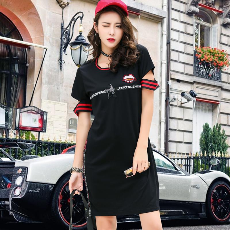 Flash Sale Kapas Grand Prix Eropa baru tipis longgar t-shirt (Hitam)