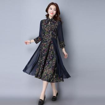 Kapas retro baru Slim ditingkatkan gaun cheongsam (Bunga)