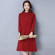 Kapas retro warna solid longgar panjang gaun ditingkatkan cheongsam (Merah)