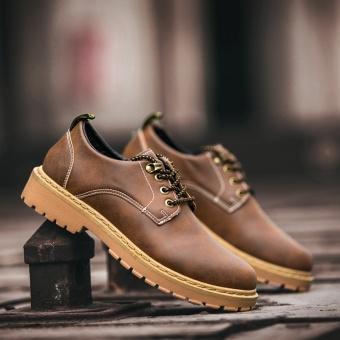 Kasual baru musim gugur pria kecil sepatu kulit pria sepatu (Coklat gelap)