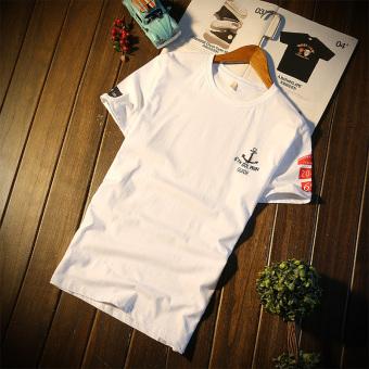Kasual kapas dicetak leher bulat lengan pendek t-shirt (Anchor putih)