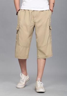 Kasual kapas multi-saku bagian tipis besar celana pendek musim panas celana celana (Coklat