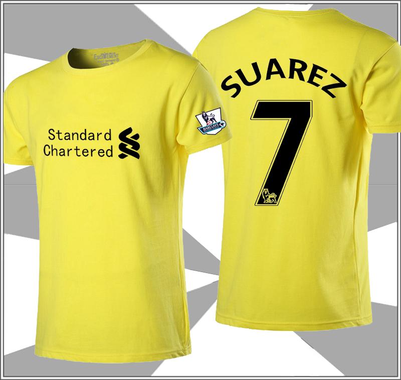 Flash Sale Kasual katun sepak bola laki-laki t-shirt (Liverpool Suarez kuning