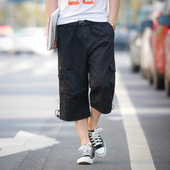 Kasual warna solid pemuda musim panas celana pantai celana pendek (036 hitam)