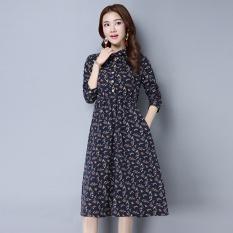 Katun dan linen musim gugur baru bunga ditingkatkan gaun cheongsam (Biru)