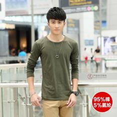 Katun lycra lengan panjang musim semi dan musim gugur model laki-laki Qiuyi t-