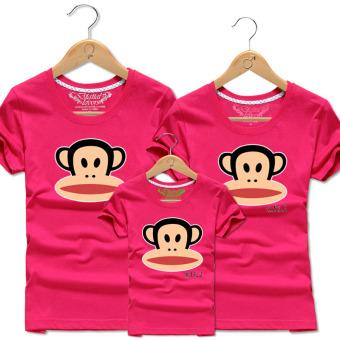 Gambar Katun pria dan wanita monyet layanan siswa kelas t shirt (Mawar  merah) 58f2f0924e