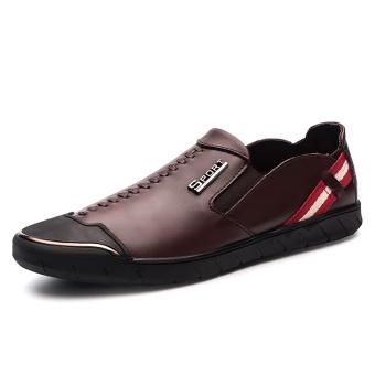 Kebugaran Korea Fashion Style kulit pria menginjakkan kaki sepatu kulit pria sepatu kasual (Coklat)