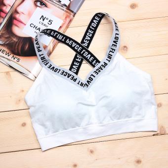 Belanja Terbaik Kebugaran Korea Fashion Style Slim Huruf Tipis Ayat Pendek Bra Dibungkus Dada (Lintas v-neck putih) (Lintas v-neck putih) Price Checker