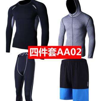 Harga Kebugaran lengan pendek celana pendek berjalan tiga potong dilengkapi Kebugaran Pakaian (Keluarga empat AA02) Ori