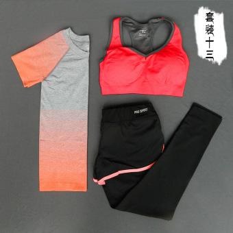 Kebugaran luar ruangan berjalan perempuan tipis pakaian yoga kebugaran pakaian yoga (Oranye 2)