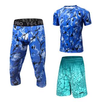 Harga Kebugaran pakaian olahraga jas laki-laki legging pakaian (Biru tua lengan pendek celana + James celana pendek hijau) Ori