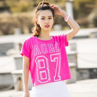 Beli Kebugaran perempuan cepat kering bernapas lengan pendek pelatihan  pakaian t-shirt (Mawar merah) Murah 73c88acae8