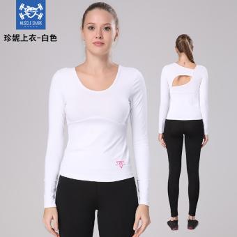 Beli Kebugaran Perempuan Musim Panas Bagian Tipis Kebugaran Lengan Panjang  T-shirt Yoga Pakaian (Putih) (Putih) Online d59a77cc4d