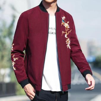 Beli Kebugaran tren musim gugur baru bisbol seragam jaket pria (Merah anggur) Terpercaya