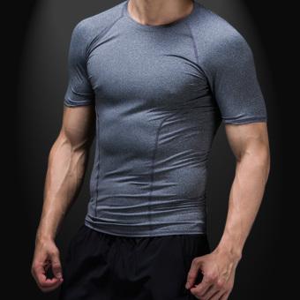 Kebugaran warna solid pelatihan berjalan kebugaran pakaian cepat kering pakaian legging pakaian (Abu-abu)